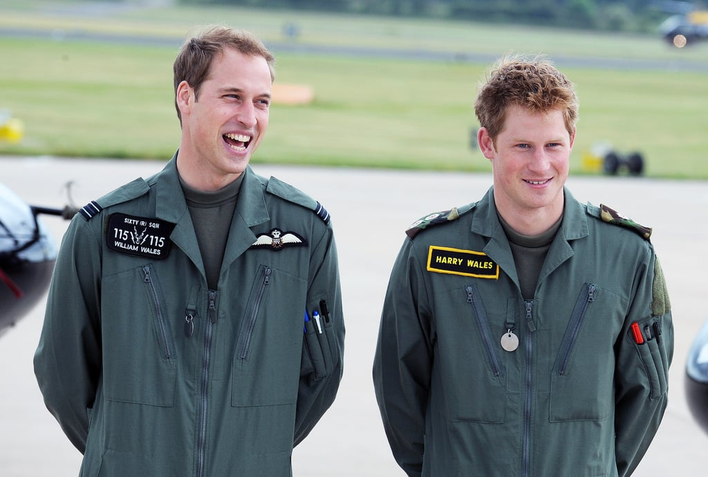 William and Harry attended a photocall during military helicopter training in June 2009.