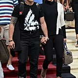 Jennifer Lopez and boyfriend Casper Smart kept close to one another after checking out of their Miami Beach hotel.