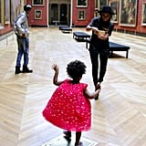 Blue and her parents visited the Louvre in Paris and took lots of selfies.