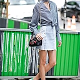 Knot your gingham cutout top at the waist and wear sneakers.