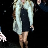 Kate Moss had curly hair for an afterparty.
