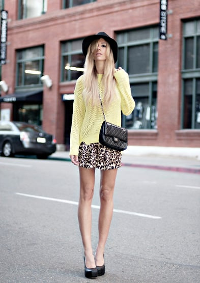 Don't fear — the statement power of a bold knit and leopard print won't overpower your look as long as you keep it easy, like so.  Photo courtesy of Lookbook.nu