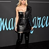 Wearing a head-to-toe leather look at the GQ x Neiman Marcus All Star Party.