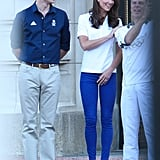 Kate Middleton Wearing Her Blue Cropped Skinnies at Buckingham Palace