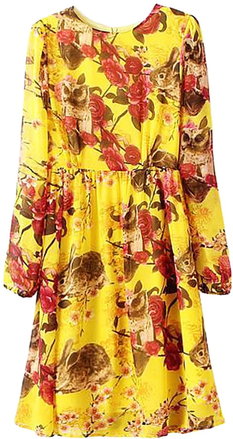 Choies Yellow Floral Long Sleeve Dress