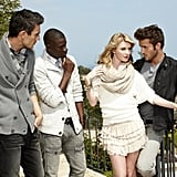 Laura cozied up to the male models while trying to come off as a flirt.  Photo courtesy of The CW