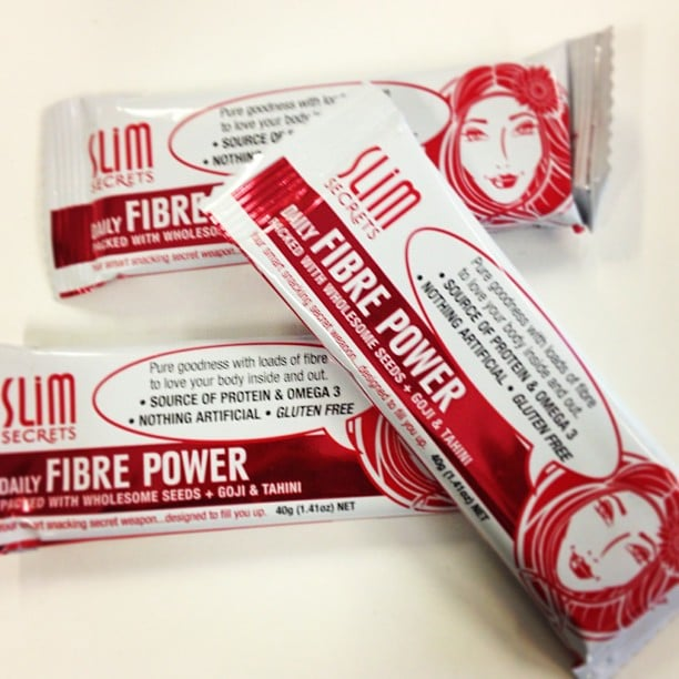 These protein bars from Slim Secrets are actually delicious. We scoffed these — added bonus that each bite adds to our fibre intake.