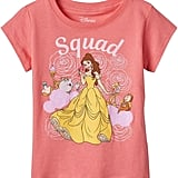 "Disney Beauty & The Beast Belle, Cogsworth & Lumiere Toddler Girl ""Squad"" Tee ($11, originally $18)"