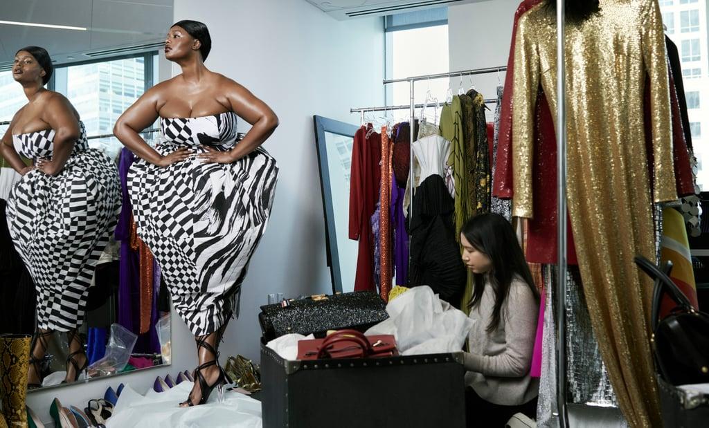 Precious Lee wears a Christopher John Rogers dress and Peter Do sandals alongside Vogue's Samantha Sussman.