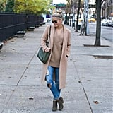 With a V-Neck Sweater and Booties