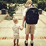 """Waiting for the bus with brother #backtoschool"""