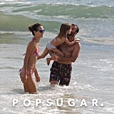 Alessandra Ambrosio played in the ocean with her family in Malibu.