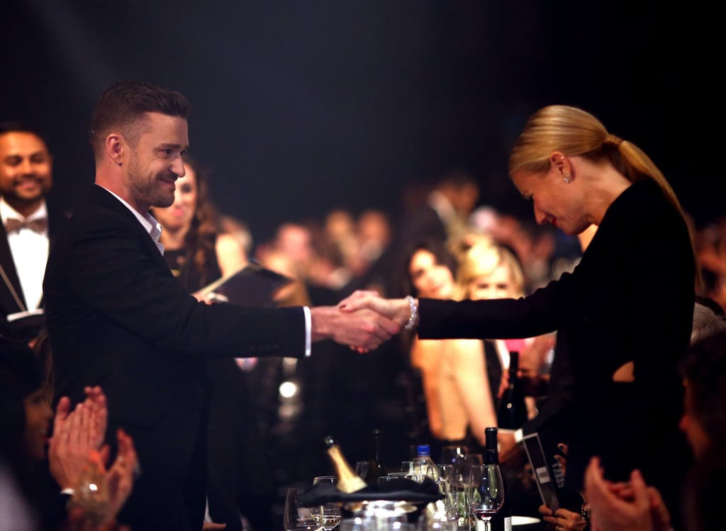 """The 2014 amfAR Inspiration Gala in LA on Wednesday night was full of stars, including Alessandra Ambrosio, Kelly Osbourne, Lea Michele, and Molly Sims. Many of them were wearing Tom Ford, since he was being honored at the event, and many of them, like Miley Cyrus and Rihanna, were showing lots of skin.  Gwyneth Paltrow did a little of both in a sexy cutout Tom Ford suit as she walked the red carpet with the designer himself. Inside the dinner, she shared a moment with Justin Timberlake, met up with Rihanna, and later took the stage to introduce her former husband, Chris Martin, before his performance. Gwyneth proclaimed Chris """"has won every single award that there is to be won, especially Father of the Year, which he has won consecutively since 2004."""" The flattering introduction proved that Gwyneth and Chris's friendship remains intact despite reports that Gwyneth had a hand in breaking up Chris and his new girlfriend Jennifer Lawrence."""