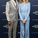 She was all smiles in a baby blue Sandro pantsuit at the Homecoming press tour.