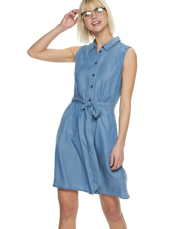 Chiffon Shirt Dress in Blue Wash