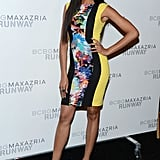 Selita Ebanks opted for high-wattage print and bold-hued pumps at BCBG Max Azria.