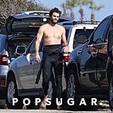 Liam Hemsworth Surfing Shirtless in Malibu June 2018