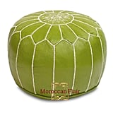 Moroccan Flair Leather Moroccan Pouf in Pistachio