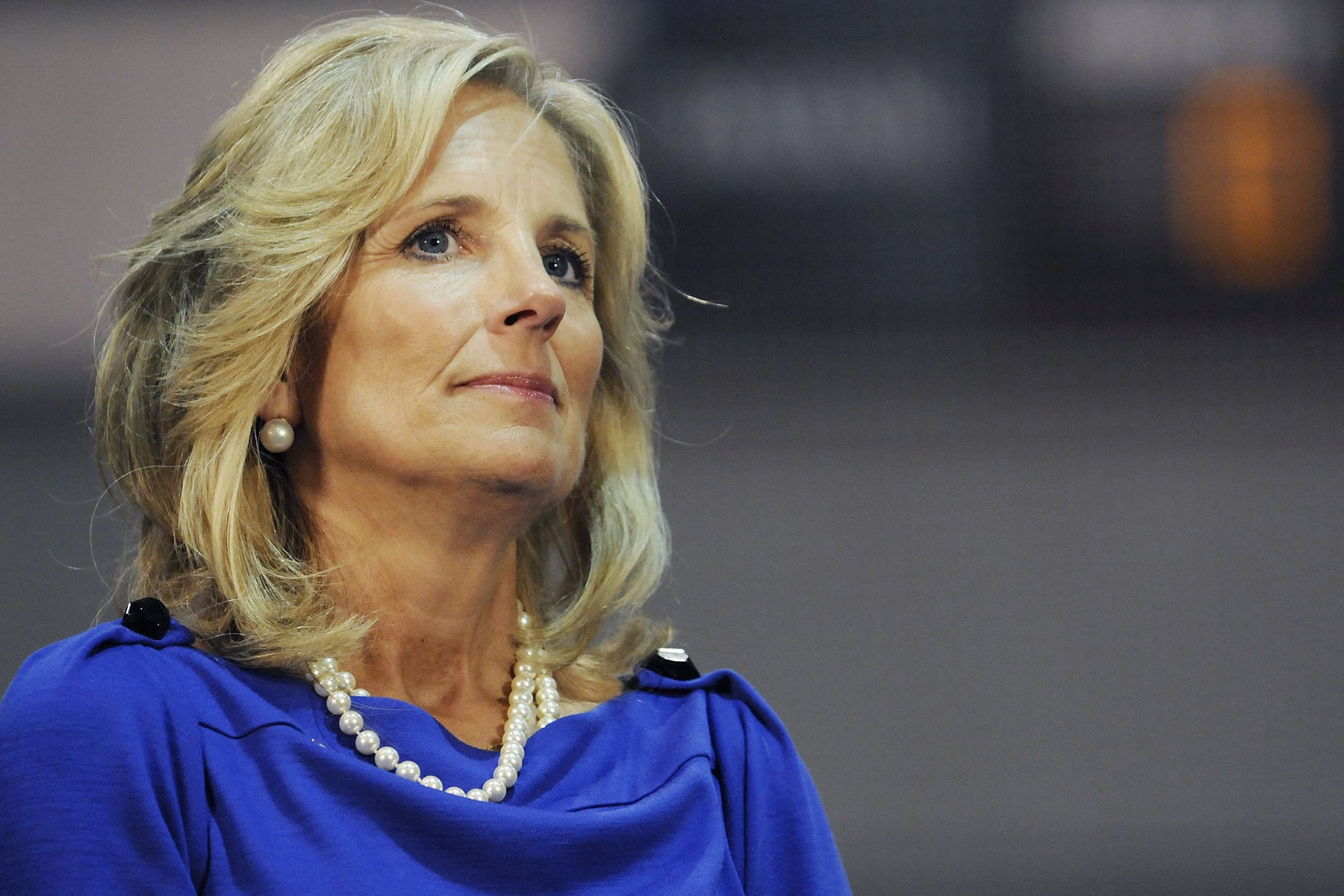 SCRANTON, PA - OCTOBER 12:  Dr. Jill Biden listens in at a rally in support of Democratic presidential nomineee U.S. Sen. Barack Obama (D-IL)October 12, 2008 in Scranton, Pennsylvania. (Photo by Jeff Fusco/Getty Images)
