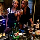 Miley Cyrus sipped cocktails with her sister Brandi.