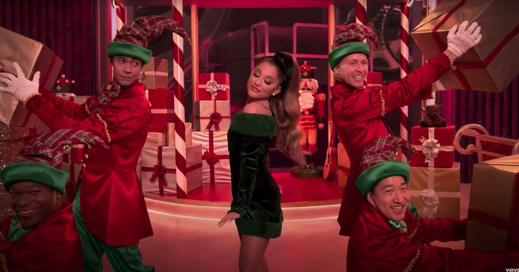 """Ariana Grande's Green Velvet Dress in the """"Oh Santa"""" Video"""