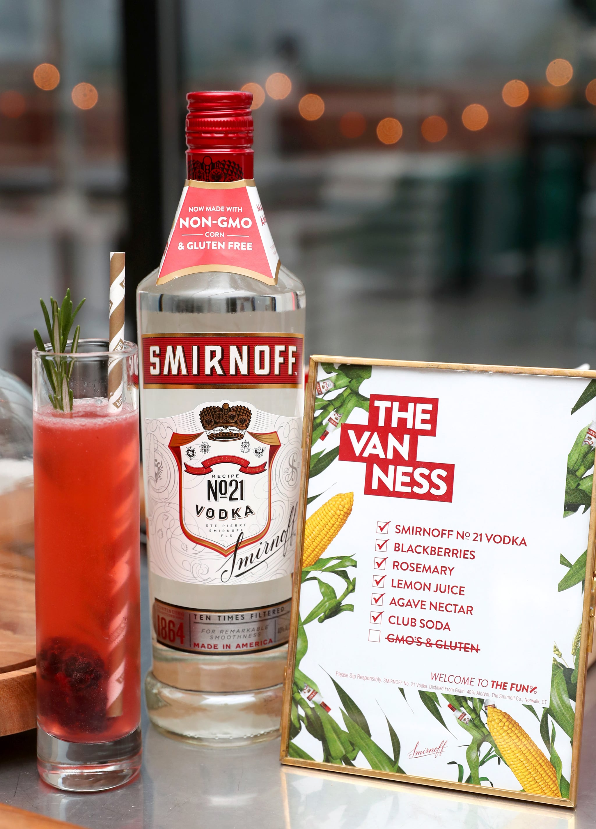 NEW YORK, NY - OCTOBER 8:  The Van Ness (YASS!) made with Smirnoff No. 21 Vodka, now non-GMO on display on October 8, 2018 in New York City.  (Photo by Cindy Ord/Getty Images for Smirnoff)