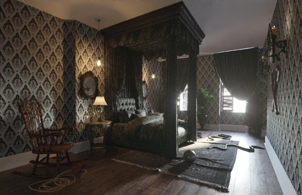 Booking.com's Addams Family House: Master Bedroom