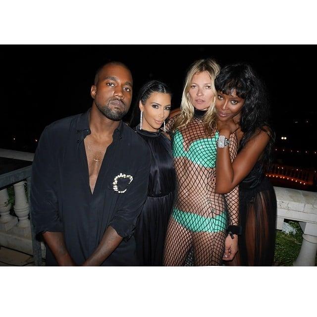 Kanye West, Kim Kardashian, Kate Moss, and Naomi Campbell