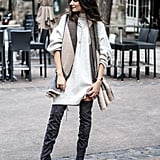 Pair a Dress or Oversize Sweater With Over-the-Knee Boots Instead of Tights