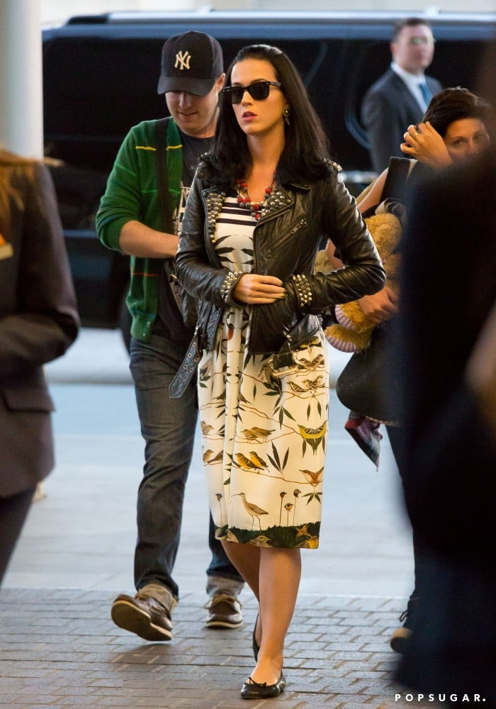 Katy Perry picked a printed, retro dress for a recent trip out of town.
