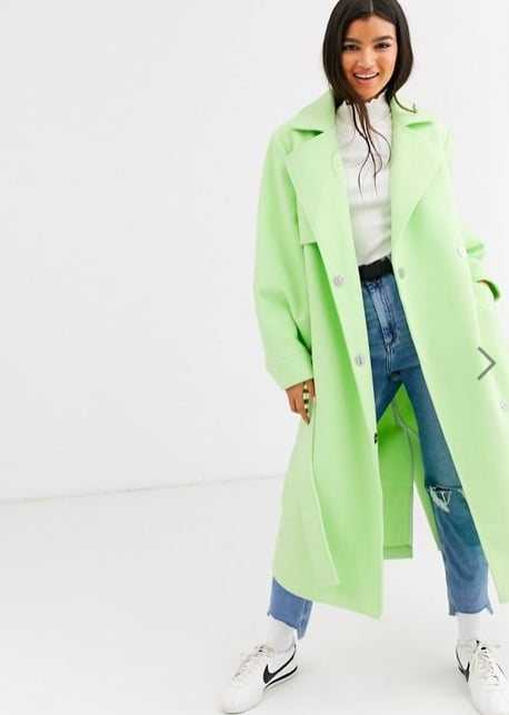ASOS DESIGN Coat With Extreme Sleeves in Mint ($150)