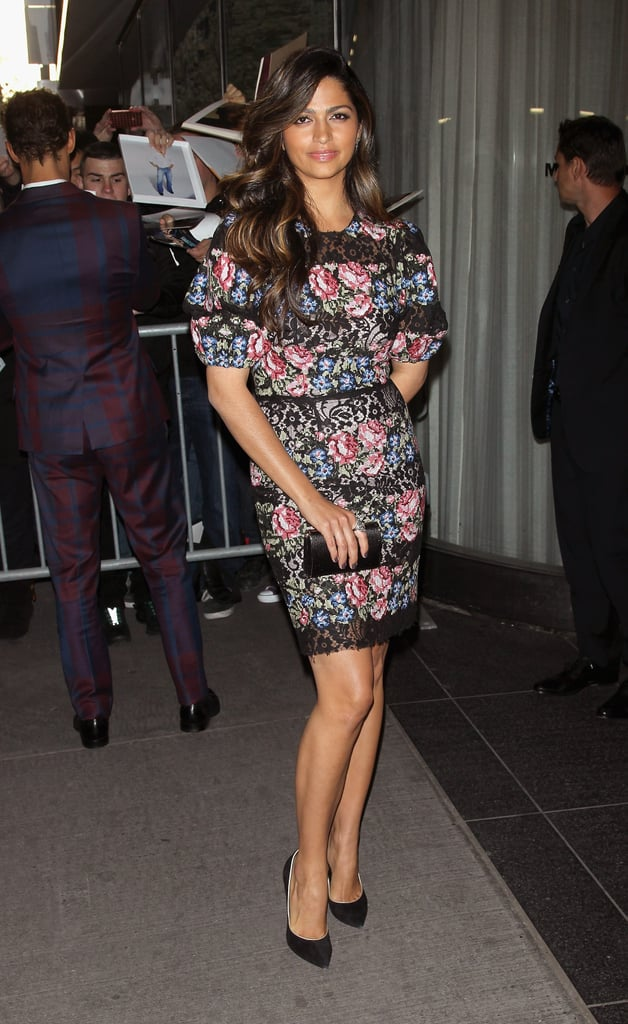 Camila Alves was feminine in a floral-print Dolce & Gabbana dress, completed with black Casadei pumps and a black satin clutch at the NYC screening of Mud.