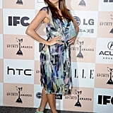 Eva paired a flowy, printed Chanel dress with bright mint sandals at the 2011 Film Independent Spirit Awards.