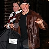Matt Damon headed into the Late Show with David Letterman with his suit in a garment bag.