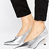 Asos's Suzie Pointed Kitten Heels ($38) offer a flash of metallic silver.