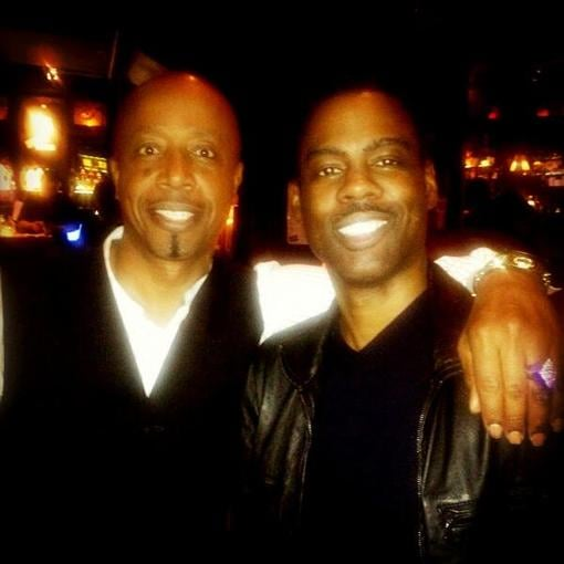 MC Hammer hung out with Chris Rock after the latter's stand-up comedy performance. Source: Twitter user MCHammer
