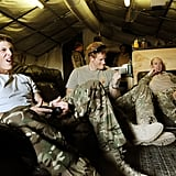 Prince Harry celebrated a score while playing video games.