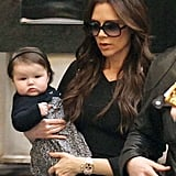 Victoria Beckham carried Harper while leaving London's Savoy hotel in January 2012.