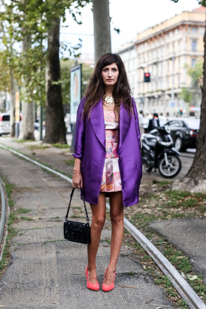 A colour-rich coat made the look.