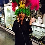 Kourtney Kardashian got in the zone with an over-the-top headpiece that features a microphone.