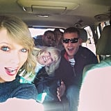 Taylor Swift rode with a carful of cousins.