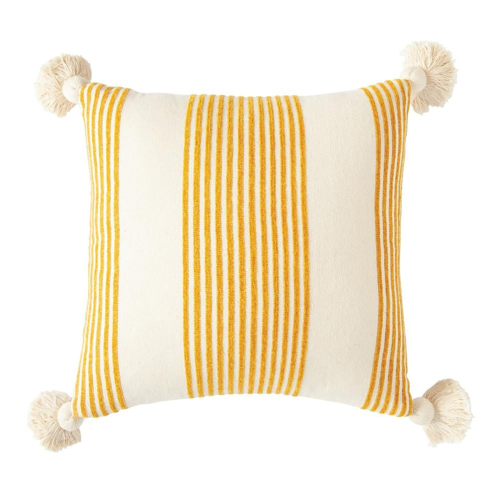 3R Studios Mustard Striped Cotton and Chenille Throw Pillow