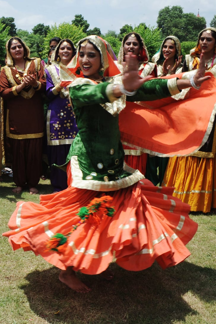 An Indian Girl Twirls In Her Punjabi Dress During The Teej Festival  Indian Girls -7950