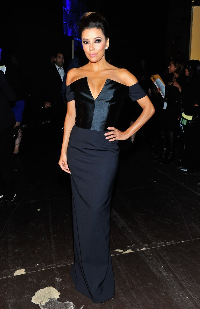 Backstage at the 2013 Alma Awards, Eva Longoria put her décolletage on display in a navy off-the-shoulder gown. We love the mix of varying fabrics and that dramatic v-neck.