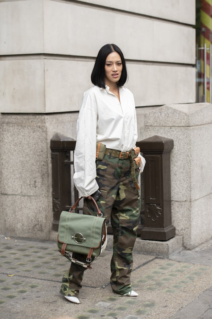 Temper a camo-print cargo pant with a classic white button-down.