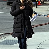Keri Russell kept her jacket zipped up.