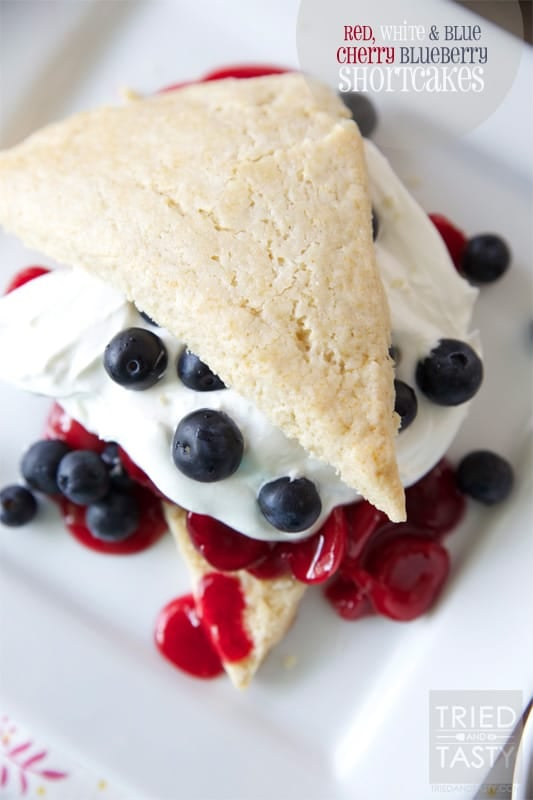 Red White & Blue Cherry Blueberry Shortcakes