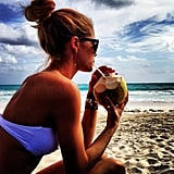 Doutzen Kroes took some time out with a fresh coconut. Source: Instagram user doutzenkroes1
