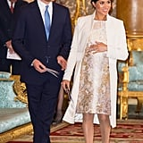 Meghan Markle Fall Outfit Idea: A Metallic Brocade Dress and White Coat