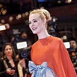 Elle Fanning Wearing Red and White Valentino Dress